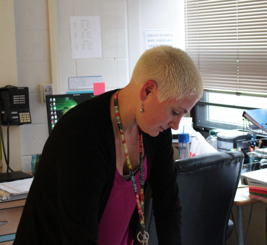 Mrs. Kruizenga prepaires a lesson during her planning period. Photo by Nick Girolami, photo and web editor