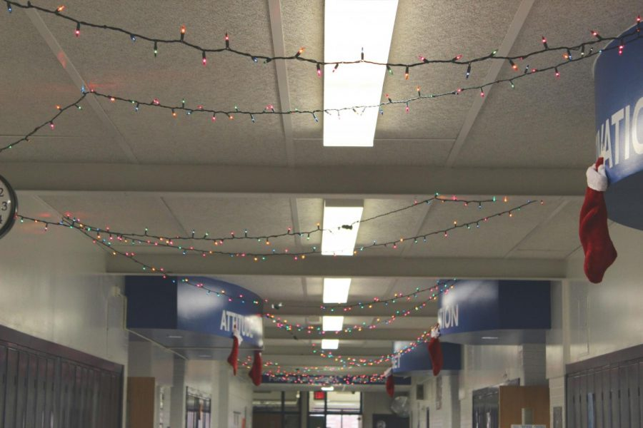 Festive+lights+throughout+the+halls+at+Plainwell+Highschool+light+up+the+path+to+a+great+New+Year.