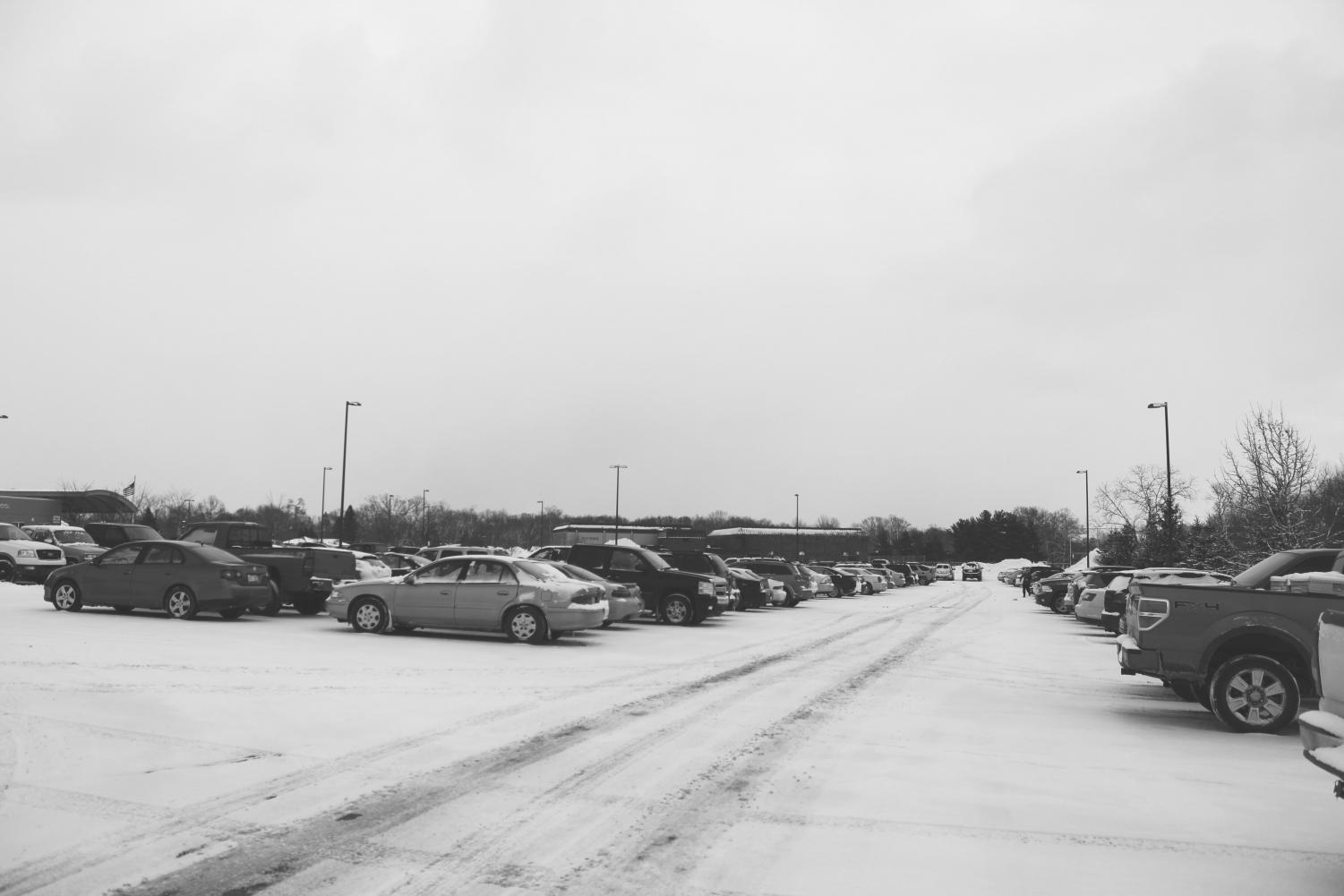 The great Senior parking lot.